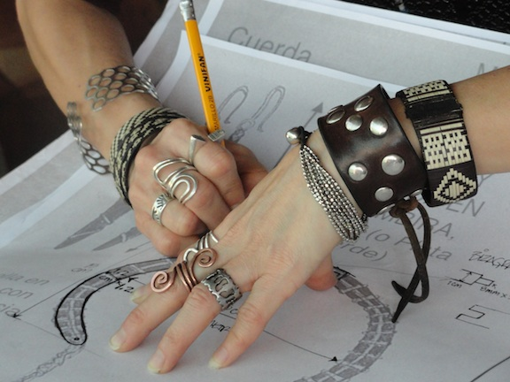 Violeta Villacorta working on designs for Yanesha Jewelry Project with PaTS